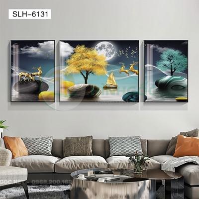 Tranh bộ 3 bức, tranh hiện đại đôi hươu tỏ tình-SLH-6131