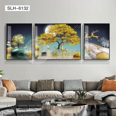 Tranh bộ 3 bức, tranh hiện đại đôi hươu tỏ tình-SLH-6132