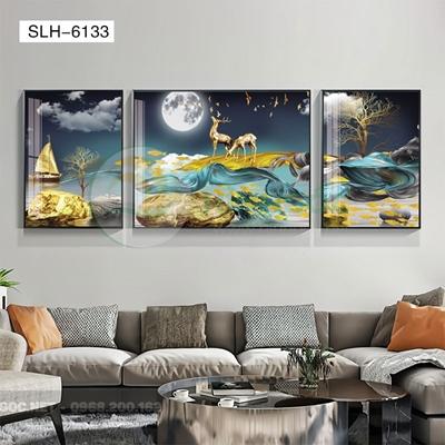 Tranh bộ 3 bức, tranh hiện đại đôi hươu tỏ tình-SLH-6133