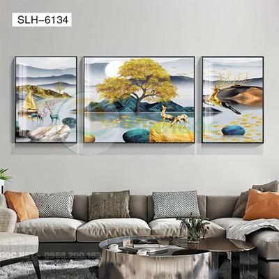 Tranh bộ 3 bức, tranh hiện đại đôi hươu và đàn cá vàng-SLH-6134