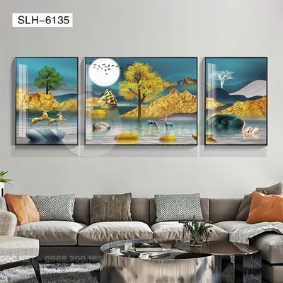 Tranh bộ 3 bức, tranh hiện đại đôi hươu trên sông-SLH-6135
