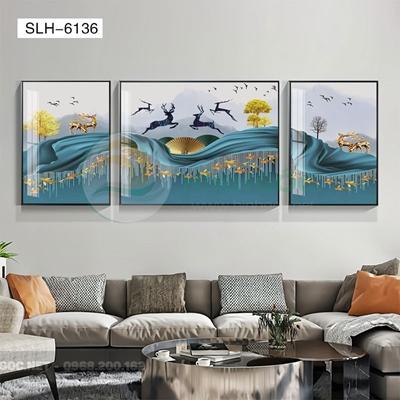 Tranh bộ 3 bức, tranh hiện đại hươu và cá vàng-SLH-6136