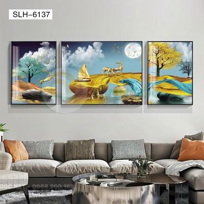 Tranh bộ 3 bức, tranh hiện đại hươu và cá vàng-SLH-6137