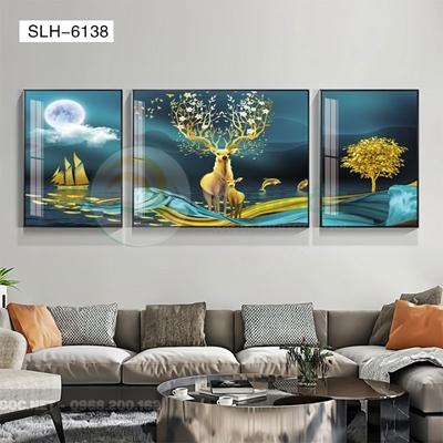 Tranh bộ 3 bức, tranh hiện đại mẹ con nhà hươu vui vẻ-SLH-6138