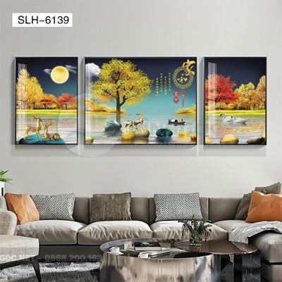 Tranh bộ 3 bức, tranh hiện đại hươu đứng trên đá cuội-SLH-6139