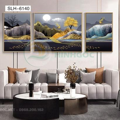 Tranh bộ 3 bức, tranh hiện đại hươu núi nghệ thuật-SLH-6140