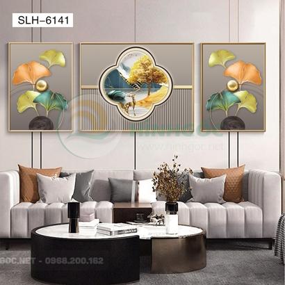 Tranh bộ 3 bức, tranh hiện đại tranh hoa lá nghệ thuật-SLH-6141