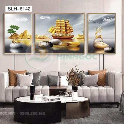 Tranh bộ 3 bức, tranh hiện đại thuận buồm xuôi gió-SLH-6142