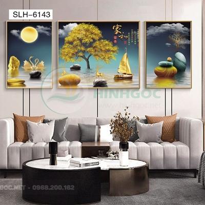 Tranh bộ 3 bức, tranh hiện đại hươu đứng trên đá cuội-SLH-6143