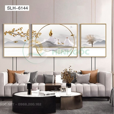 Tranh bộ 3 bức, tranh phong cảnh sơn thủy-SLH-6144