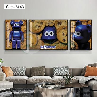 Tranh bộ 3 bức, tranh con robot hoạt hình-SLH-6148
