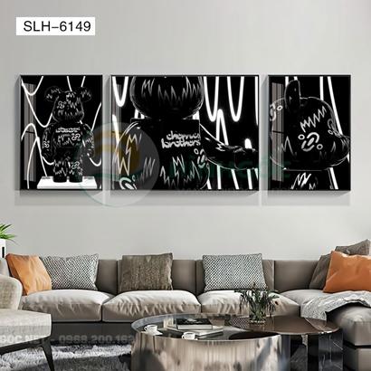 Tranh bộ 3 bức, tranh con robot hoạt hình-SLH-6149