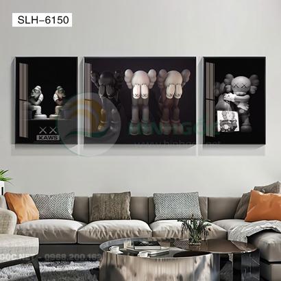 Tranh bộ 3 bức, tranh con robot hoạt hình người máy-SLH-6150