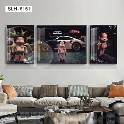 Tranh bộ 3 bức, tranh con robot hoạt hình-SLH-6151