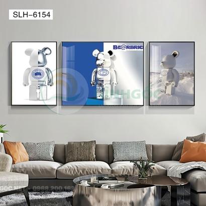 Tranh bộ 3 bức, tranh con robot hoạt hình-SLH-6154