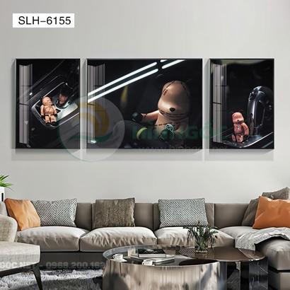 Tranh bộ 3 bức, tranh robot người máy đi xe -SLH-6155