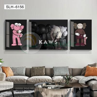 Tranh bộ 3 bức, tranh robot người máy tình cảm -SLH-6156