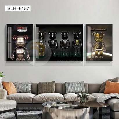 Tranh bộ 3 bức, tranh robot người máy năng lượng-SLH-6157