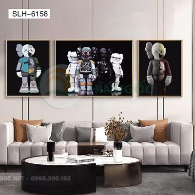 Tranh bộ 3 bức, tranh robot người máy-SLH-6158