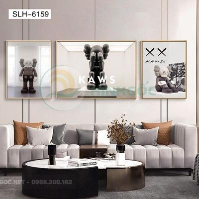 Tranh bộ 3 bức, tranh robot người máy bày tỏ cảm xúc-SLH-6159