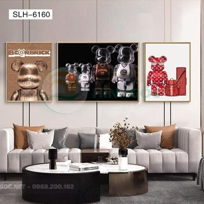 Tranh bộ 3 bức, tranh robot người máy và hành lý-SLH-6160