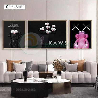 Tranh bộ 3 bức, tranh robot người máy con gấu-SLH-6161