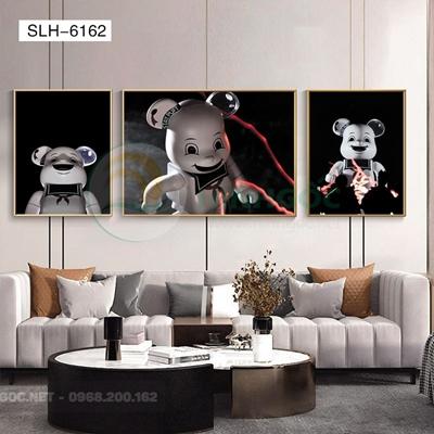 Tranh bộ 3 bức, tranh robot người máy năng lượng-SLH-6162