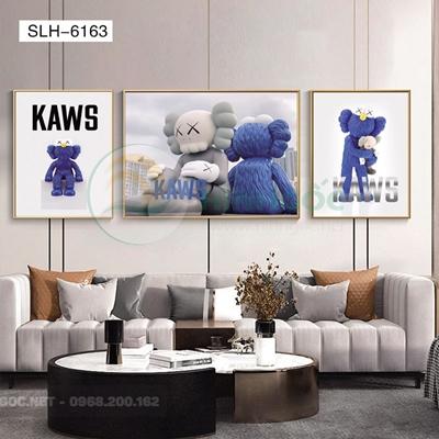 Tranh bộ 3 bức, tranh robot người máy tỏ tình-SLH-6163