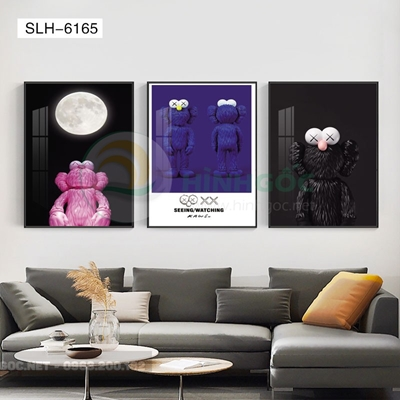 Tranh bộ 3 bức, tranh robot người máy con gấu-SLH-6165
