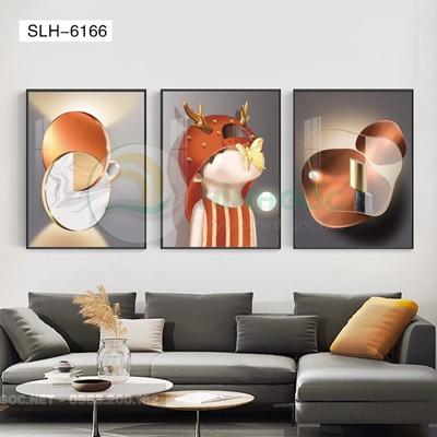 Tranh bộ 3 bức, tranh chân dung cậu bé dấu mặc-SLH-6166