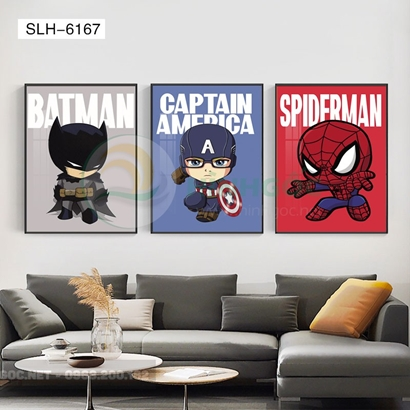 Tranh bộ 3 bức, tranh phòng bé những con siêu nhân-SLH-6167