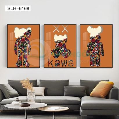 Tranh bộ 3 bức, tranh con robot hoạt hình sắc màu-SLH-6168