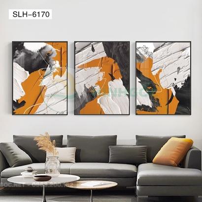 Tranh bộ 3 bức, tranh trừu tượng sắc màu-SLH-6170