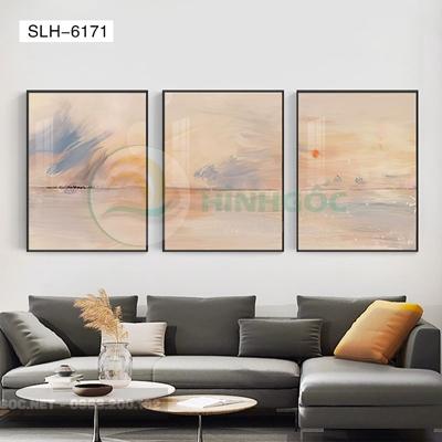 Tranh bộ 3 bức, tranh trừu tượng sắc màu-SLH-6171