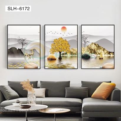 Tranh bộ 3 bức, tranh hiện đại hươu đứng trên sông-SLH-6172