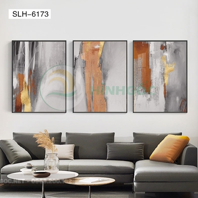 Tranh bộ 3 bức, tranh trừu tượng sắc màu-SLH-6173