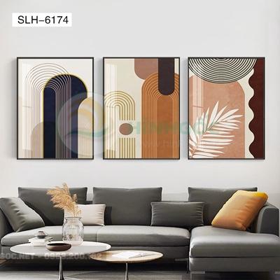 Tranh bộ 3 bức, tranh hình line art nghệ thuật-SLH-6174