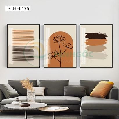 Tranh bộ 3 bức, tranh trừu tượng và bông hoa-SLH-6175