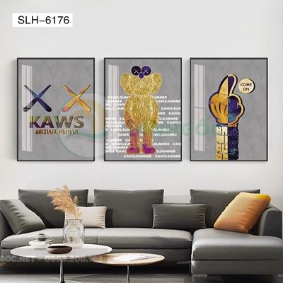 Tranh bộ 3 bức, tranh con robot hoạt hình-SLH-6176
