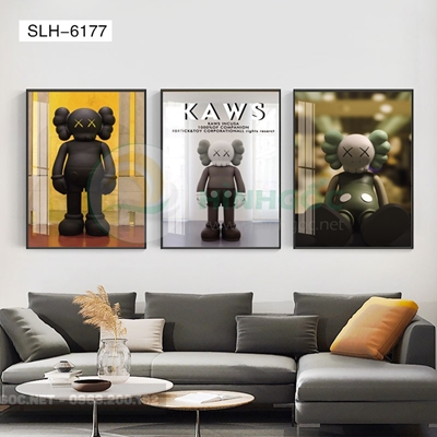 Tranh bộ 3 bức, tranh con robot hoạt hình-SLH-6177