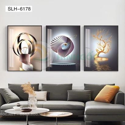Tranh bộ 3 bức, tranh con hươu vàng và hình line art nghệ thuật-SLH-6178
