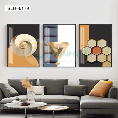 Tranh bộ 3 bức, tranh trừu tượng hình line art-SLH-6179