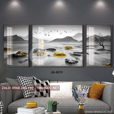 Tranh bộ 3 bức ghép, tranh phong cảnh biển đá và chim-slh-8019