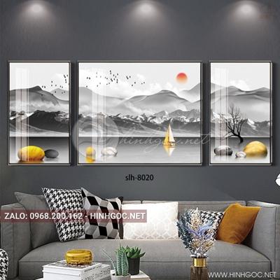 Tranh bộ 3 bức ghép, tranh phong cảnh biển đá cuội và chim-slh-8020
