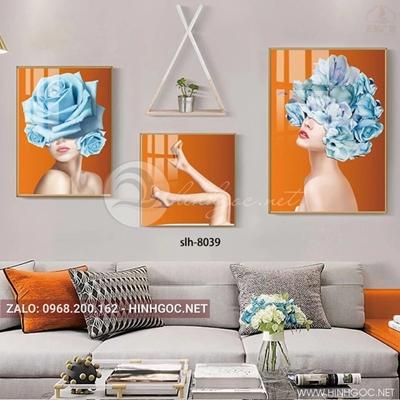 Tranh bộ 3 bức, tranh thời trang cô gái và hoa hồng xanh-slh-8039