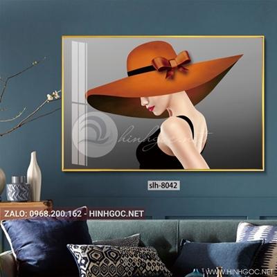 Tranh thời trang cô gái đội mũ màu cam-slh-8042