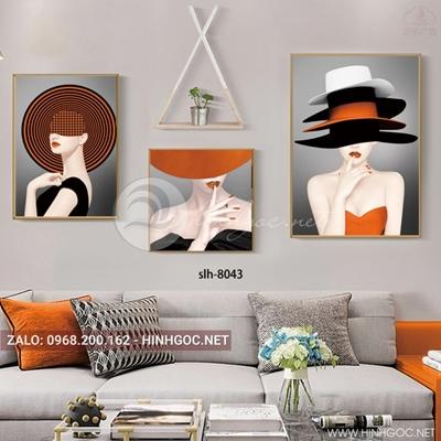 Tranh bộ 3 bức, tranh thời trang cô gái đội mũ màu cam-slh-8043
