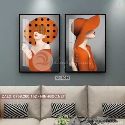 Tranh bộ 2 bức, tranh thời trang cô gái đội mũ màu cam-slh-8044