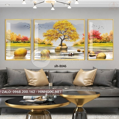 Tranh bộ 3 bức, tranh cây tuần lộc vàng và đá cuội-slh-8046