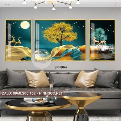 Tranh bộ 3 bức, tranh con hươu, cây, dải vân nghệ thuật-slh-8047